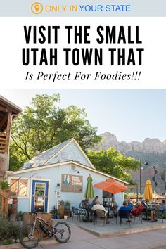 The charming small town of Springdale is a foodie paradise! It's one of the best places to find a good meal in Utah. You'll find a variety of great restaurants including the award-winning Spotted Dog Cafe. The town also offers beautiful scenery while you dine! It's perfect for date night or dinner with friends. #utah #restaurants Zion Park, Zion National Park, National Parks, Spotted Dog, Sidewalk Cafe, Dog Cafe, Cafe House, Utah Hikes, Dinner With Friends