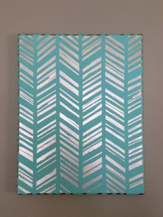 Customizable Hand-Painted Acrylic Feather Herringbone Design on Stretched Canvas