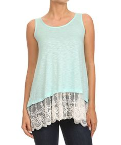 Love this Lady's World Mint Burnout Lace-Trim Tank - Women & Plus by Lady's World on #zulily! #zulilyfinds