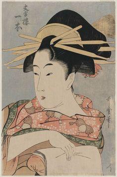 喜多川歌麿 Utamaro Kitagawa『文字楼 一と本』
