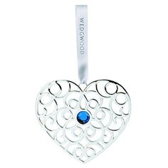 Wedgwood Sliver Filigree Heart Ornament, Blue Crystal