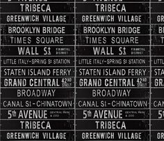 NYC Subway Signs - Urban Typography fabric by zoey's_uber-chic_loft on Spoonflower - custom fabric