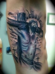 Bom Jesus Cristo Tattoo On Side Man Rib
