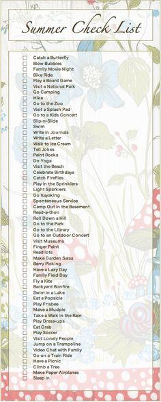 Summer check list