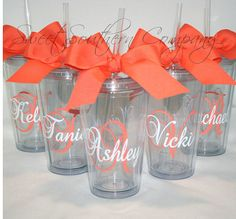 5 Personalized Bride and Bridesmaid Acrylic Tumblers - Choose Your Tumbler Color Diy Tumblers, Acrylic Tumblers, Monogram Tumblers, Wedding Boxes, Wedding Gifts, Wedding Day, Wedding Stuff, Destination Wedding, Personalized Flip Flops