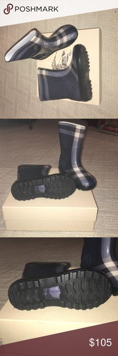 Unisex children blue rain boots Unisex Burberry rain boots !! Only worn once, have two pairs available Burberry Shoes Rain & Snow Boots