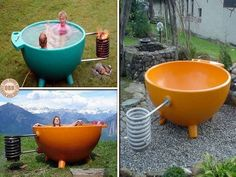 "Hot tub anyone? Could you use one of these in your backyard? There are lots of heart-starters - from super simple to drop-dead gorgeous, on our ""Outdoor Baths and Showers"" album on our site at theownerbuilderne. BTW this unit is called the Dutchtub. Jacuzzi, Outdoor Spaces, Outdoor Living, Outdoor Decor, Outdoor Projects, Outdoor Baths, Outdoor Showers, Garden Architecture, Architecture Photo"
