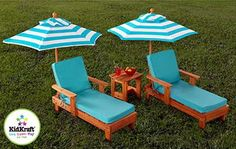 Just 2 cute!  New Kids 2 Lounge Chairs & Umbrellas Set Youth Wood Chaise Table & Cushions
