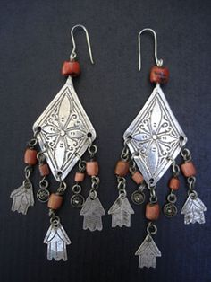 Antique Coral & Silver Earrings  Exquisite long diamond shapedMoroccan silver etchedearringswith flower design, antique natural Yemeni coral and silver Hamsa Hand of Fatima dangles. New sterling silver earring hooks.
