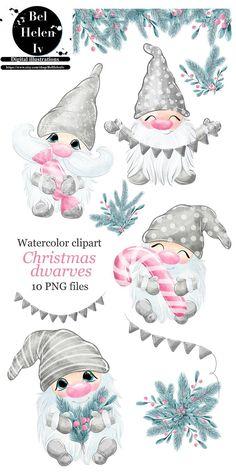 Christmas Drawing, Christmas Paintings, Christmas Gnome, Christmas Art, Illustration Noel, Pink Balloons, Theme Noel, Christmas Clipart, Creations
