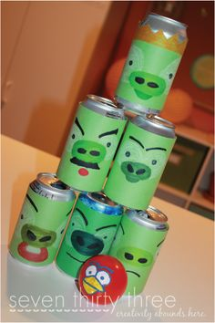 We have the Angry Birds knock on wood game, but these cans looks soooo much easier to set up!