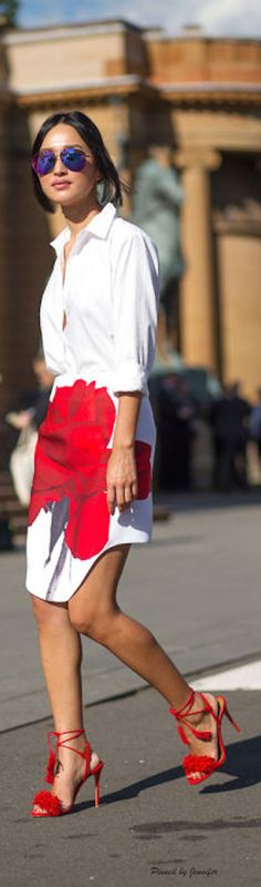 Asymmetrical Rose print skirt and White Blouse
