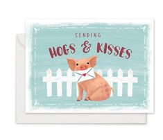 Hogs & Kisses - Greeting Card by Dot&Jot Cute Stationary, Light Blue Background, Saturated Color, Paper Gifts, Blue Backgrounds, White Envelopes, Whimsical, Recycling, Stationery