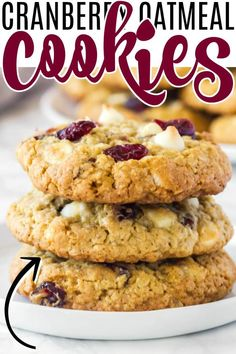 WHITE CHOCOLATE CRANBERRY OEATMEAL COOKIES Delicious Cookie Recipes, Holiday Cookie Recipes, Best Cookie Recipes, Best Dinner Recipes, Dessert Recipes, Fun Desserts, Yummy Food, Easy Recipes, White Chocolate Chip Cookies