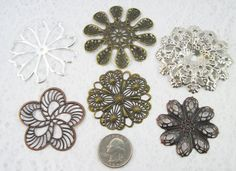 Assorted Filigree Iron Flower Beads 12 pieces by Studio139Designs, $3.49