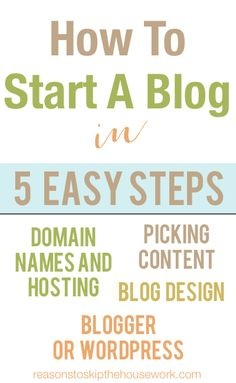How to Start a Blog - simple steps!