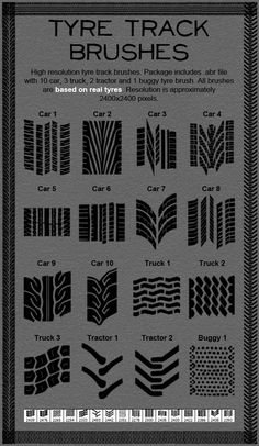 Tire Track Brushes  #abr tire brush #high resolution • Download ➝ https://graphicriver.net/item/tire-track-brushes/397002?ref=pxcr