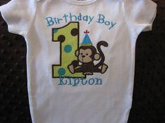 First Birthday Monkey Onesie or Tshirt by Bethysboutique on Etsy, $20.00