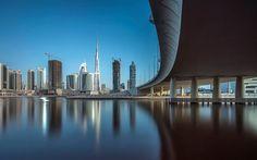 Downtown Dubai, 4K, bridge, reflections, Dubai, UAE, United Arab Emirates