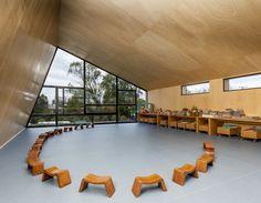 La Leroteca / Lacaja Arquitectos, classroom, wood bench, wood walls and ceilings, rolling casework, kindergarten