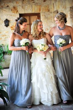Grey Bridesmaids dresses are the trend this year, pretty white bouquets compliment this Holman Ranch wedding captured by Scott Campbell Photography