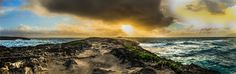 Sunrise panorama in Oahu Hawaii, April 2014.