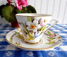 Art Deco Cup And Saucer Spring Flowers Enamel Phoenix England Forester 1930s