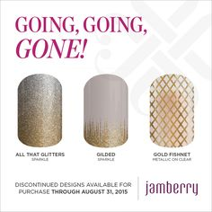 These Jamberry Nail Wraps are being discontinued Aug. 31,2015.  Buy your favorite design before they are retired.