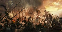 Dain II Ironfoot defending the body of Brand from easterlings. This is concept art for BOTFA Appendices for the Battle of Dale during the War of the Ring.