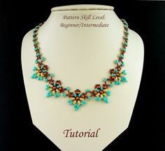 Beading pattern instructions - beadweaving tutorial beaded superduo or twin seed bead jewelry - ORCHIDEE beadwoven necklace