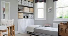 A study set up for napping is painted in Farrow & Ball Cornforth White and All White Light Grey Paint Colors, Warm Gray Paint, Light Grey Walls, White Walls, Gray Walls, Wall Colours, Cornforth White Hallway, Cornforth White Living Room, Farrow And Ball Paint