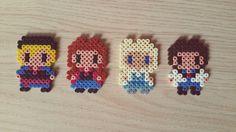 Perler Beads Frozen. Kristoff, Anna, Elsa, Hans.