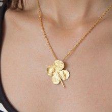 Collana d'oro 24 kt con vere foglie di quadrifoglio placcate