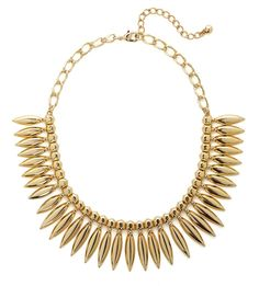 How fabulous is this? With its bold silhouette and sleek leaf-like marquise pendants, this gold necklace is a superb style statement for the ages.