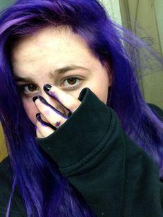 Splat Purple Over Black Hair