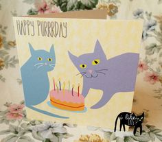 Illustrated Cat Birthday Card  Happy Purrday  by Toby Oliver Dean, £2.50
