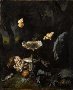 Otto Marseus van Schrieck, A Forest Floor Still-Life with Various Fungi, Thistles, an Aspic Viper, a Sand Lizard, a Tree Frog and Two Moths 1660