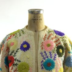 60s Floral Embroidered Cardigan Sweater by SpunkVintage on Etsy, $48.00