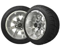 #Golf Cart Wheels and Tires OCTANE 12'' Machined/Silver, Set of 4 $539.00