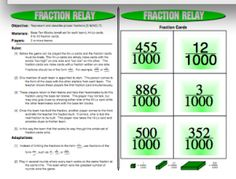 http://www.teacherspayteachers.com/Product/Fraction-Relay-Proper-Fractions-Games Represent and describe proper #fractions.... help their teammates build this fraction using the base ten blocks. http://www.mathfilefoldergames.com/fraction-games/ #math #mathgames #coolmath