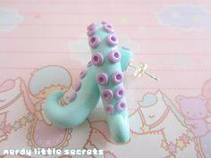 Pastel Octopus Tentacle Earrings by NerdyLittleSecrets on Etsy, $9.00