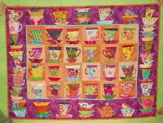 scrappy quilt of cups.