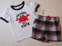 """NWT Carter's 2 Pc Set """"Crabby But Cute"""" Tee Shirt T-shirt and Shorts Boys 18 M #CartersPlaywear #Everyday"""