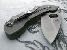 Spyderco Leaf Storm Titanium pocket knife. I use it in the office all the time......for opening boxes and suchlike!