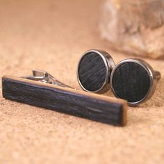 Jim Beam barrel wood tie bar and cufflinks combo