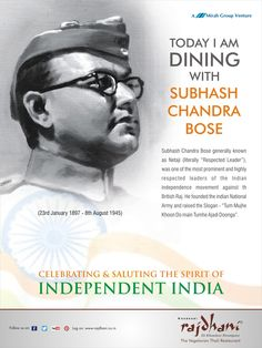 """Subhash Chandra Bose generally known as Netaji, was one of the most prominent and highly respected leaders of the Indian independence movement against the British Raj. He raised the slogan - """"Tum Mujhe Khoon Do, Main Tumhe Ajadi Doonga""""."""