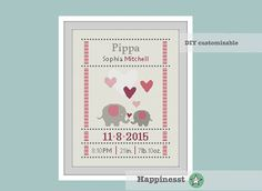 cross stitch baby birth sampler, birth announcement, elephants, baby girl, DIY customizable pattern** instant download**