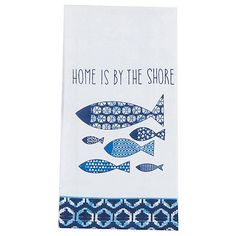 The Kay Dee Designs flour sack towel is lint-free and dries fast, making it ideal for glassware, polishing, and cleaning. Towel features a Home Is By The Shore design. Pre-washed cotton towel measures 27''L x 27''W.