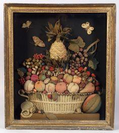 Antique needlework fruit basket