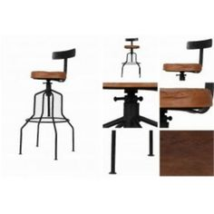 Factory Industrial Iron and Leather Bar Stool